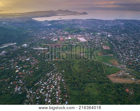 Managua central america capital aerial drone view. City around hiils and lagoons