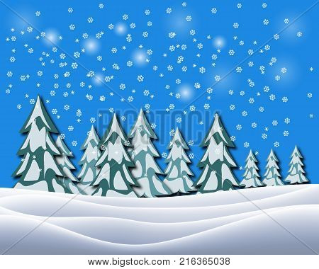 Christmas holiday background with Santa and decorations. Christmas landscape with gifts and snow. Merry christmas and happy new year greeting card. Christmas celebration holiday background.