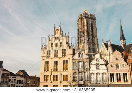 The main market square with the St. Rumbold's cathedral in the background in Mechelen or Malines in Belgium
