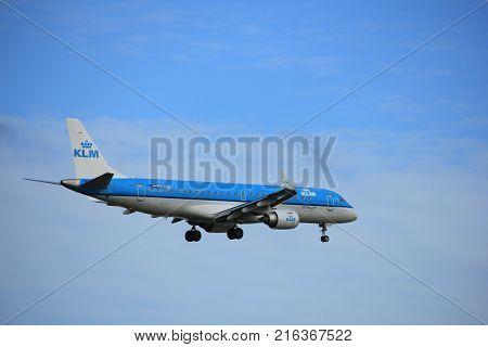 Amsterdam the Netherlands - July 15th 2016: PH-EZR KLM Cityhopper Embraer ERJ-190STD approaching Polderbaan runway at Schiphol Amsterdam Airport arriving from Bilbao Spain