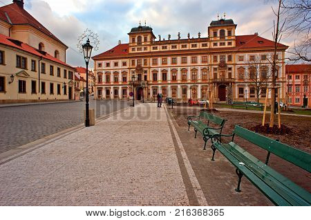Prague Czech Republic -1 December 2017: Hradcany Square at Prague Castle