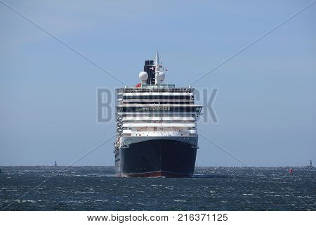 IJmuiden The Netherlands - June 5th 2017: Queen Victoria Cunard on North Sea Channel towards North Sea Lock in IJmuiden