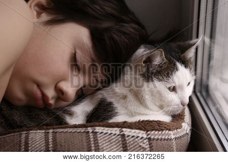 Teenager Boy And Cat In Cozy Cat Bed Nest Sleeping On The Weekend Morning