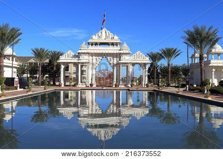 HOUSTON, TEXAS - NOVEMBER 25, 2017: Hindu temple, BAPS Swaminarayan Shri Swaminarayan Mandir in Houston, Texas