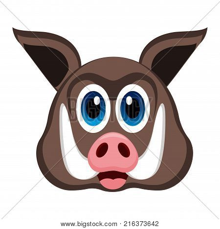 Avatar of a wild pig on a white background, Vector illustration