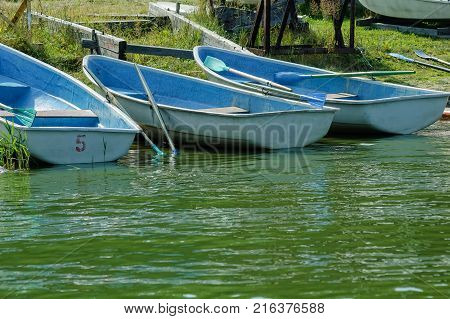 Blue wooden sailing boats with oars at the banks of river