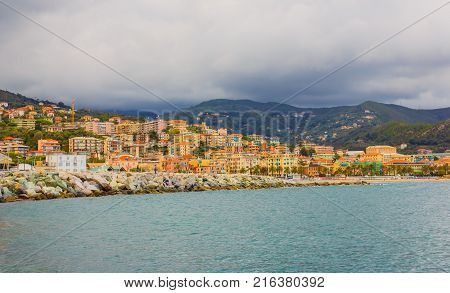 panoramic view of the bay of the city of Varazze(Italy) /panoramic view of the houses of the city of Varazze located in Liguria(Italy)