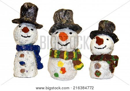 Funny Kids Snowmen Fashioned From Papier-mache Isolated On White Background With Place For Text , Bl