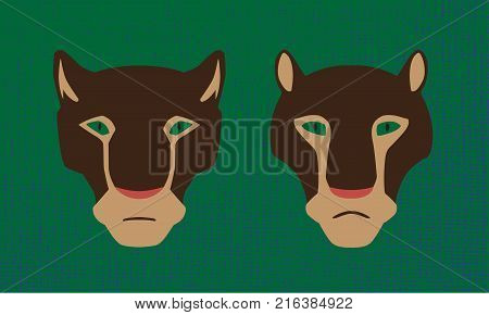 Vector two heads of cougar animals. Male and female are wildcats. Decorative stylized image.