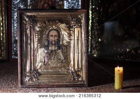 photo of orthodox holy painting called icon.