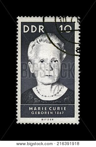 DDR - CIRCA 1967: canceled stamp printed in DDR shows famous polish Nobel prize winner in 1903 1911 - physicist, radioactivity observer Marie Sklodowska-Curie (1867-1934), circa 1967.