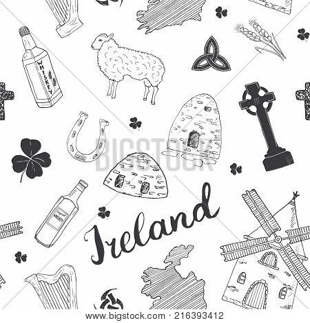 Ireland Sketch Doodles Seamless Pattern. Irish Elements with flag and map of Ireland Celtic Cross Castle Shamrock Celtic Harp Mill and Sheep Whiskey Bottles and Irish Beer Vector Illustration.