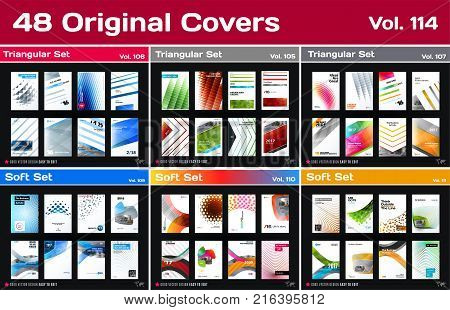 Mega set of design of business vector template, brochure, abstract annual report, cover, flyer in A4 with olourful round, soft, triangular shapes, abstract lines for finance with background.