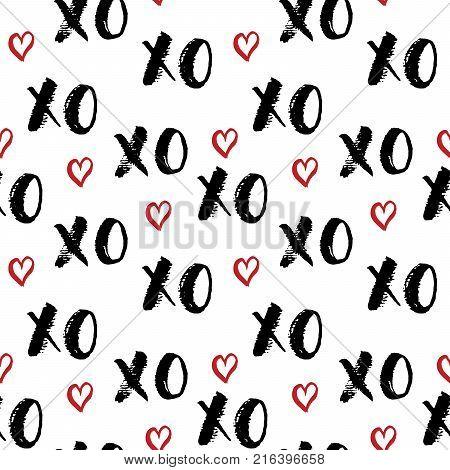 XOXO brush lettering sign Grunge calligraphiv c hugs and kisses Phrase Internet slang abbreviation XOXO symbols vector illustration isolated on white background.