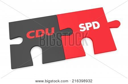 BERLIN GERMANY - NOVEMBER 27 2017: German Politics Grand Coalition Concept: CDU And SPD Puzzle Pieces 3d illustration isolated on white background