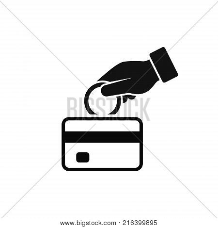 Hand put coin in bank card account icon vector. Cash get a bank card replenish card. replenishment process illustration.