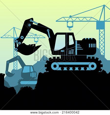 Vector background illustration of excavator loader tractor digging ground earth industrial construction site in flat style