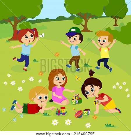 Vector illustration of kids playing outside on green grass with flowers, trees. Happy children playing on the yard with toys in cartoon flat style