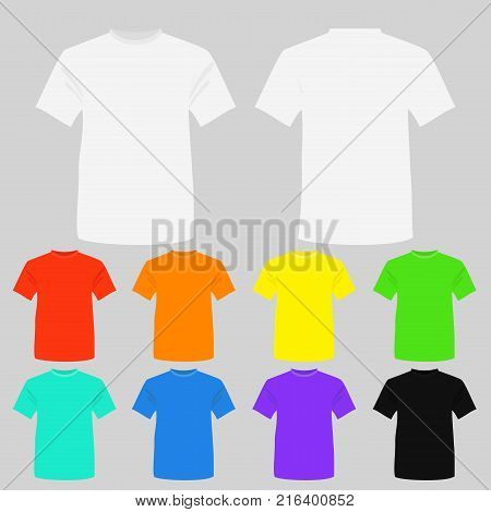 Vector illustration set of templates colored t-shirts. T-shirts in white, black and other bright colors in flat style