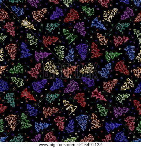 New year's Seamless Pattern of Bright Colorful Hand-drawn Outline Christmas Trees on Black Backdrop. Continuous Christmas Background for Cloth Fabric Textile Tissue Pack Paper Wrapping Paper.