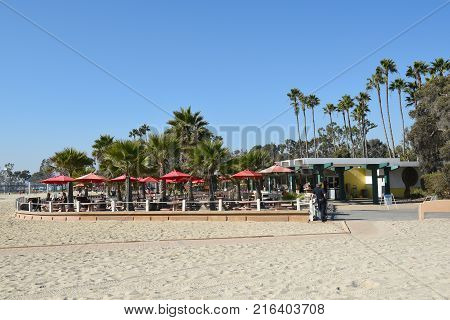 DANA POINT, CA - DECEMBER 1, 2017: Doheny State Beach concession area. The beach is a popular surf spot with Volleyball courts, picnic areas and campground.