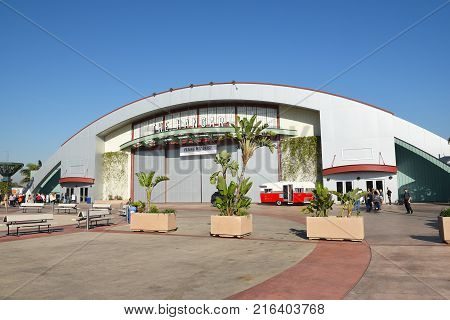COSTA MESA, CA - DEC 1, 2017: The Hangar at the OC Fair and Event Center. The renovated airplane hangar hosts concerts and event throught the year.