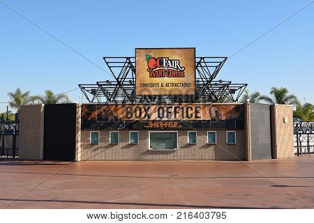 COSTA MESA, CA - DEC 1, 2017: Pacific Amphitheater Box Office. The amphitheaer is located on the grounds of the OC Fair and Event Center.