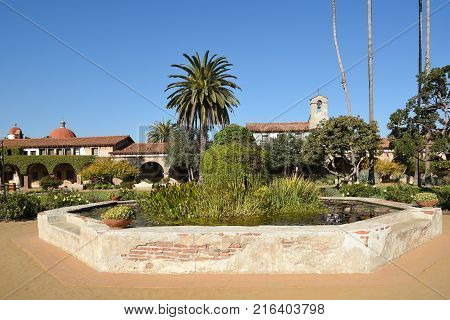 San Juan Capistrano, Ca - December 1, 2017: Pond in the Central Courtyard of the mission known as the Jewel of the missions.
