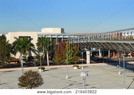 COSTA MESA, CA - DEC 1, 2017: Pedestrian Bridge South Coast Plaza. The bridge conects the main mall with the Crystal Court wing.