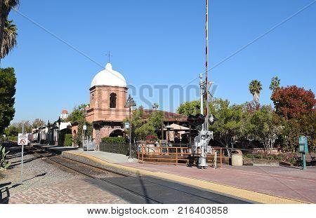 San Juan Capistrano, Ca - December 1, 2017: Restaurants and train tracks at the Verdugo Street Crossing at the Los Rios Historic District.