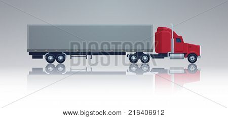 Big Cargo Truck Trailer Vehicle Isolated Template Element Semitrailer Side View Shipping And Delivery Concept Vector Illustration