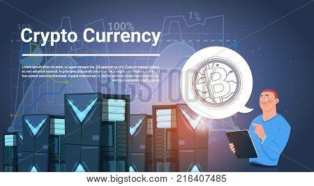 Man In Data Center Bitcoin Mining Farm Digital Crypto Currency Modern Web Money Concept Vector Illustration
