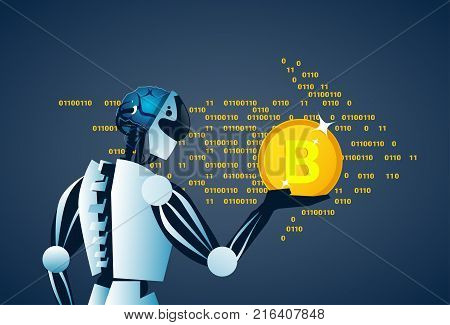 Robot Holding Bitcoin Crypto Currency Banner Digital Web Money Concept Vector Illustration