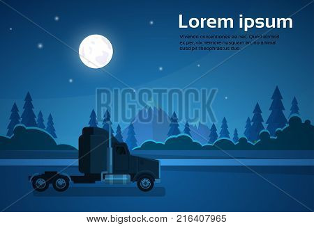 Truck Trailer Cabin At Nght On Road Over Mountains Landscape Banner With Copy Space Flat Vector Illustration