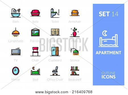 Outline color icons set in thin modern design style, flat line stroke vector symbols - apartment collection