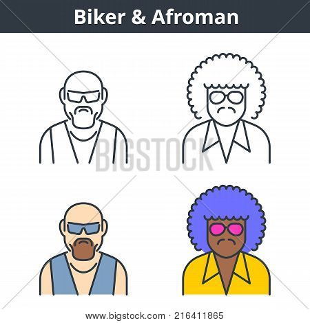 Flat and linear vector avatar set: biker and afroman. Gangster and street gang member outline human userpic collection. Colorful thin line face icons: afro american gangsta and motobike rider.