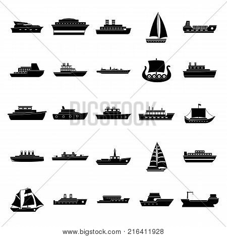 Boat icons set. Simple illustration of 25 boat vector icons for web