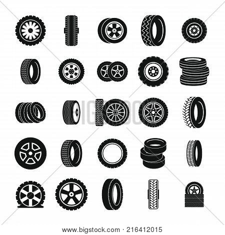 Tire icons set. Simple illustration of 25 tire vector icons for web