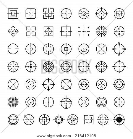 Aim target icons set. Simple illustration of 50 aim target vector icons for web