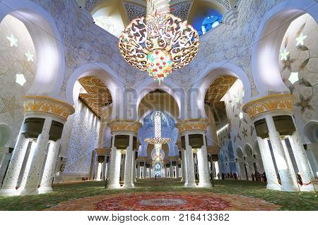 Abu Dhabi, UAE - November 05, 2017: Central hall of Sheikh Zayed Mosque. Beautiful interior of Abu Dhabi Mosque.