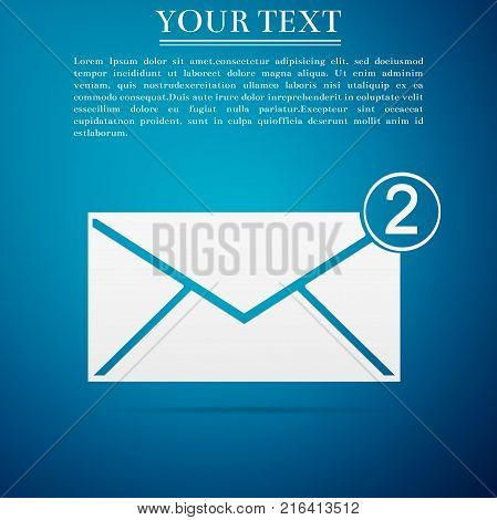 Received message concept. New, email incoming message, sms. Mail delivery service. Envelope icon isolated on blue background. Flat design. Vector Illustration