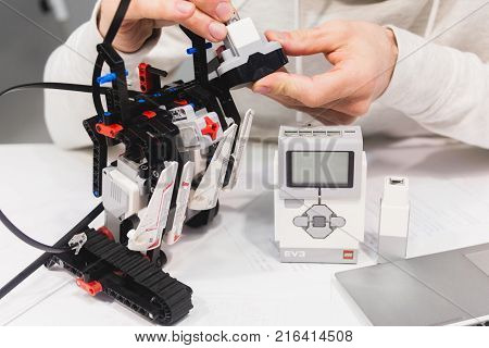 Ukraine, Kharkiv, 05.03.2017. Lego Eve is a programmable intelligent module that controls the motors and sensors. Responsible for traffic, walking, talking and wireless communication robotics