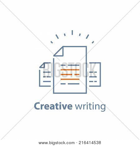 Contract terms and conditions, document paper, creative writing, storytelling concept, read brief summary, assignment, vector line icon, thin stroke illustration