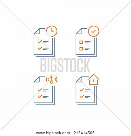 Mortgage application form icon, rental house contract creation, document terms and conditions, loan approval checklist, home ownership, vector line icon, thin stroke
