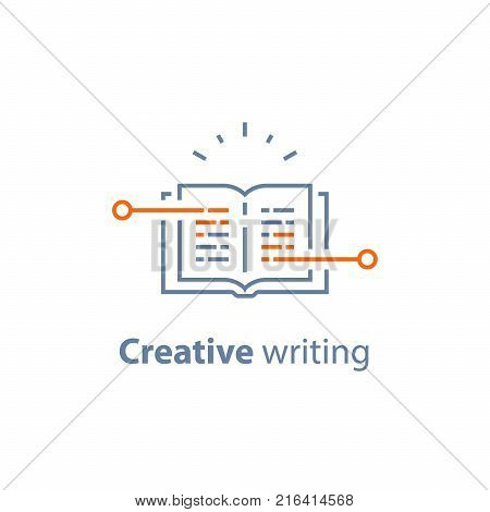 Creative writing, open book, storytelling concept, text book, exam preparation, learn grammar, read brief summary, assignment, vector line icon, thin stroke illustration