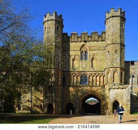 BATTLE, EAST SUSSEX, ENGLAND -  OCTOBER 20, 2017:  The Gatehouse  of  Battle Abbey East Sussex built  on the site of the Battle Hastings.
