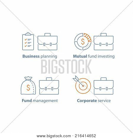 Mutual fund management, long term investment return, financial security, corporate finance, income growth, dividends, portfolio performance analysis, business solution, vector line icon thin stroke