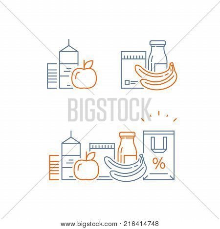 Grocery food and drink, pile of products, consumption concept, retail store loyalty program, shopping bag, supply and demand, food choice abundance, vector line icon, thin stroke