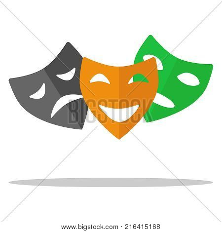 Theatrical masks a set of theater masks. Comedy tragedy drama. Flat design vector illustration vector.