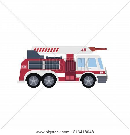 Flat Vector Illustration of a Red Fire Engine